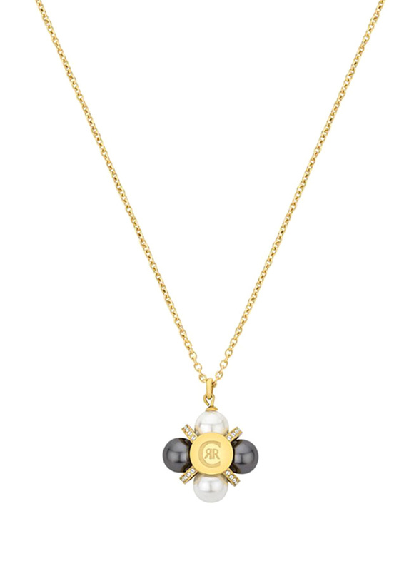 Cerruti 1881 Stainless Steel Pendant Necklace with Pearl - Imitation Stone for Women, Gold