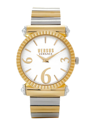 Versus Republique Analog Watch for Women with Stainless Steel Band, Water Resistant, V WVSP1V, Silver/Gold-White