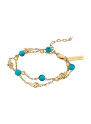 Police Gotita Metal Chain Bracelet for Women, Blue