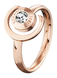 Cerruti 1881 Zircon Stone Stacking Ring for Women, Rose Gold, EU 54