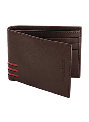 Police Cross Hatch Leather Bi-Fold Wallet for Men, PA40048WLBR, Brown