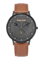 Police Berkeley Analog Watch for Men with Leather Band, Water Resistant and Chronograph, P 15968JSB-39, Brown-Black