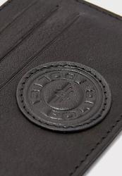 Police Carve Leather Card Case for Men, Black