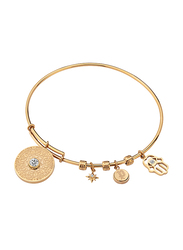 Police Bijou Gold Plated Stainless Steel Bangle Bracelet for Women with All Moveable Charms, Gold