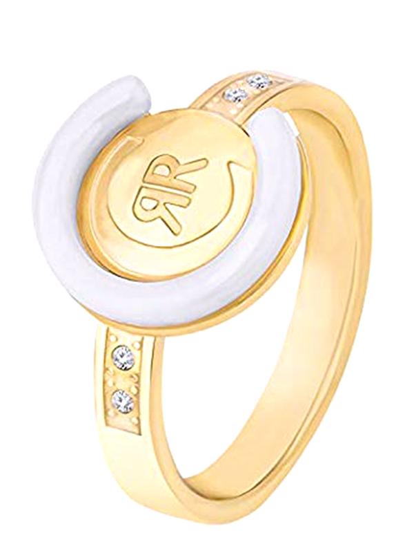 Cerruti 1881 Stacking Ring for Women, Gold  & White, EU 54