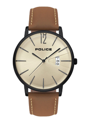 Police Virtue Analog Watch for Men with Leather Band, Water Resistant, P 15307JSB-07, Brown-Beige