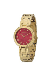 Police Edison Analog Stainless Steel Watch For Women Water Resistant, Gold-Red, P 14868BSG-D16M