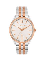 Cerruti 1881 Agriano Metal Watch for Men, Water Resistant, Silver/Rose Gold-Silver, C CRWA25402