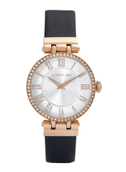Cerruti 1881 Elettra Analog Watch for Women with Leather Band, Water Resistant, C CRWM265, Black-White