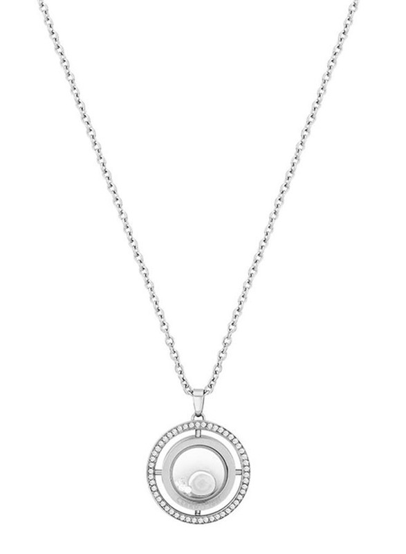 Cerruti 1881 Stainless Steel Pendant Necklace with Zircon Stone for Women, Silver