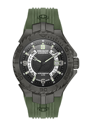 Swiss Military Hanowa Seaman Analog Watch for Men with Silicone Band, Water Resistant, W S6-4327, Green-Black