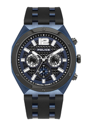 Police Kediri Analog Watch for Men with Silicone Band, Water Resistant with Chronograph, P 15995JSBLU-03P, Black-Blue
