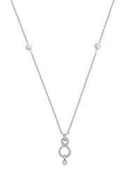 Cerruti 1881 Stainless Steel Pendant Necklace with Swarovski Stone for Women, Silver