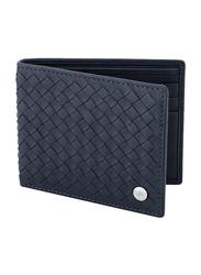 Police Weaved Leather Bi-Fold Wallet for Men, PA40112WL, Blue