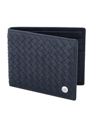 Police Weaved Leather Bi-Fold Wallet for Men, PA40112WL, Blue