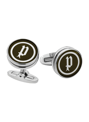 Police Mens Cufflinks with P Logo Design, Metal, P PJ 90040CSS/01-A, Black/Silver