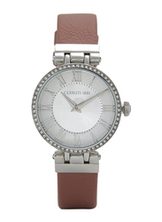 Cerruti 1881 Elettra Analog Watch for Women with Leather Band, Water Resistant, C CRWM265, Mauve-White
