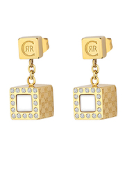 Cerruti 1881 Gold Plated Drop & Dangle Earrings for Women with Diamond Stone, White & Gold