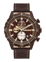 Timberland Dunford Quartz Analog Watch for Men with Leather Band, Water Resistant and Chronograph, T TBL16003JYBN-12, Dark Brown