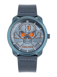 Police Bleder Analog Watch for Men with Leather Band, Water Resistant, P 15714JS, Blue