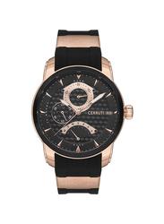 Cerruti 1881 Tesero Analog Rubber Watch for Men, Water Resistant with Chronograph, Black-Multicolour, C CRWA21606