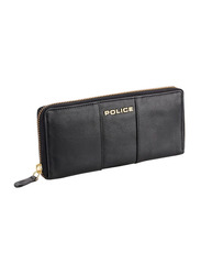 Police Aura Ranchero Leather Flap Wallet for Women, Black