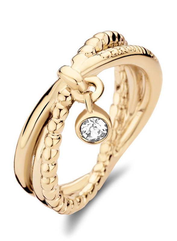 Cerruti 1881 Gold Plated Stainless Steel Fashion Ring for Women with Dongle and Diamond Stone, Gold, EU 54