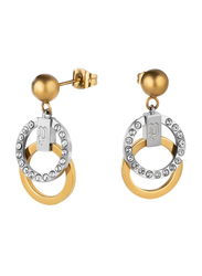 Police Stainless Steel Drop Earrings for Women with Diamond Stone, Silver/Rose Gold