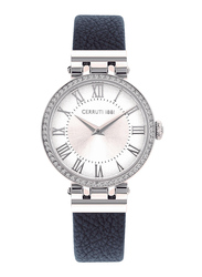 Cerruti 1881 Elettra Analog Watch for Women with Leather Band, Water Resistant, C CRWM265, Blue-White