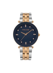 Police Montaria Analog Metal Watch for Women, Water Resistant, Silver/Rose Gold-Blue, P 15569MSR-03MTR