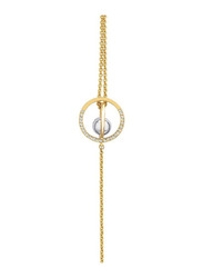 Cerruti 1881 Gold Plated Chain Bracelet for Women with Rhodium Metal Bead, Gold