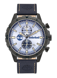 Timberland Dunford Quartz Analog Watch for Men with Leather Band, Water Resistant and Chronograph, T TBL16003JYU-08, Dark Blue-Light Blue