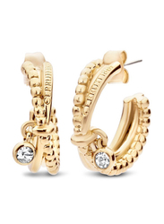 Cerruti 1881 Gold Plated Stainless Steel Hoop Earrings for Women with Diamond Stone, Gold