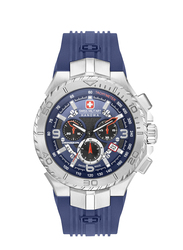 Swiss Military Hanowa Seaman Chrono Analog Watch for Men with Silicone Band, Water Resistant and Chronograph, W S6-4329.04.003, Dark Blue