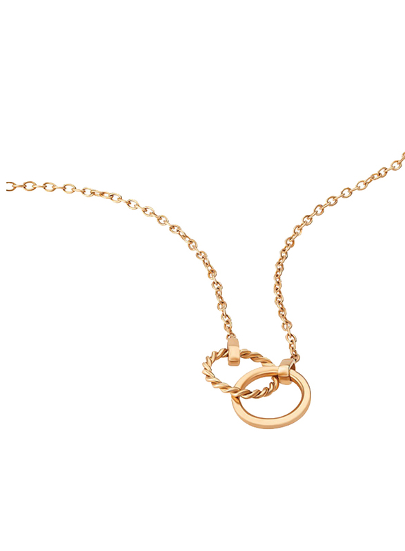 Police Rubic Stainless Steel Charm Necklace for Women, Rose Gold