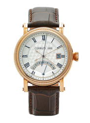 Cerruti 1881 Caparrone Analog Watch for Men with Leather Band, Water Resistant, C CRWA267, Brown-White