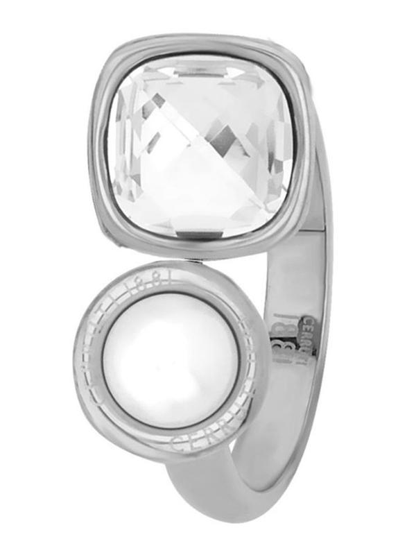 Cerruti 1881 White Gold Plated Stainless Steel Fashion Ring for Women with Square Swarovski Crystal and Pearl Stone, Silver, EU 54