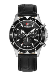 Swiss Military Hanowa Flagship Chrono II Analog Watch for Men with Leather Band, Water Resistant and Chronograph, W S6-4331.04.007, Black