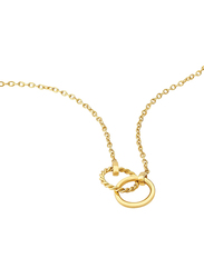 Police Rubic Stainless Steel Charm Necklace for Women, Gold
