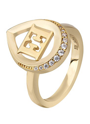 Escada Gold Plated 925 Sterling Silver Fashion Ring for Women with Zircon Stones, Gold, EU 52
