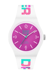 Superdry Urban Retro Analog Watch for Women with Silicone Band, Water Resistant, T SDWSYL301WP, White-Matte Purple