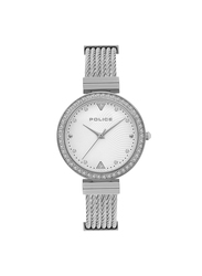 Police Alcanar Metal Watch for Women, Water Resistant, Silver, P 15567LS-04MM