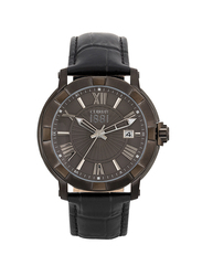 Cerruti 1881 Lungro Analog Leather Watch for Men, Water Resistant, Black-Dark Grey, C CRWA25703