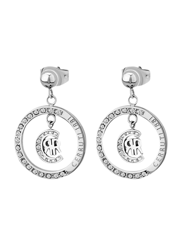 Cerruti 1881 Mens Cufflinks, Stainless Steel, with Dangling RR Logo, Silver