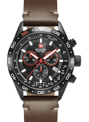 Swiss Military Hanowa Challenger Pro Analog Watch for Men with Leather Band, Water Resistant and Chronograph, W S6-4318.13.007, Brown-Black