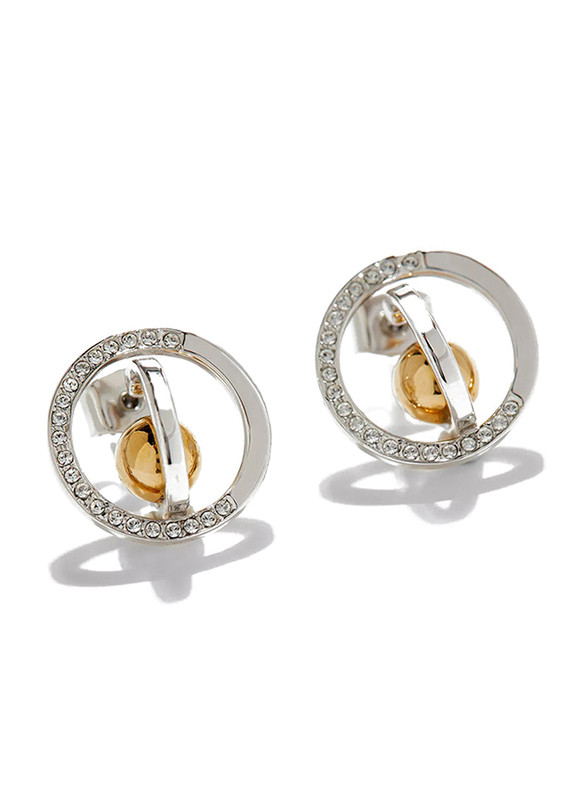 Cerruti 1881 Silver Plated Stainless Steel Stud Earrings for Women with Gold Plated Metal Beads, Silver