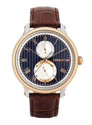 Cerruti 1881 Bargino Analog Watch for Men with Leather Band, Water Resistant and Chronograph, C CRWA266, Brown-Blue