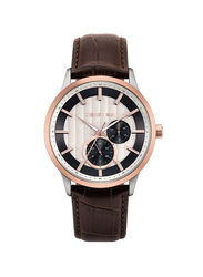 Cerruti 1881 Carzano Leather Watch for Men, Water Resistant, Brown-Silver, C CRWA20801
