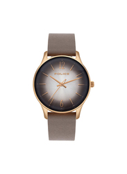 Police Makati Analog Leather Watch for Women, Water Resistant, Brown-Grey, P 15574MSR-79