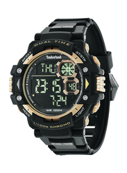Timberland Tuxbury Digital Watch for Men with Rubber Band, Water Resistant, T TBL14260JPB-02A, Black